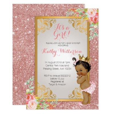 African American Rose Gold Baby Shower Invite