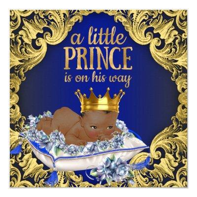 African American Royal Prince Baby Shower Invitations