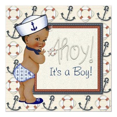 African American Sailor Boy Nautical Baby Shower Invitation