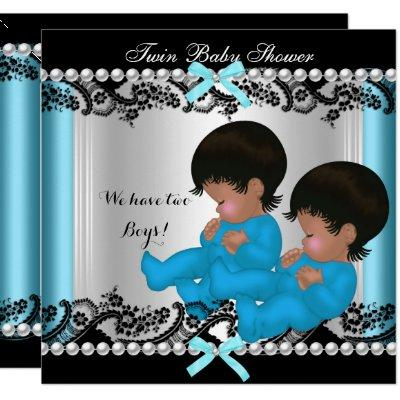 African American Twin Boys Baby Shower Blue 3 Invitation