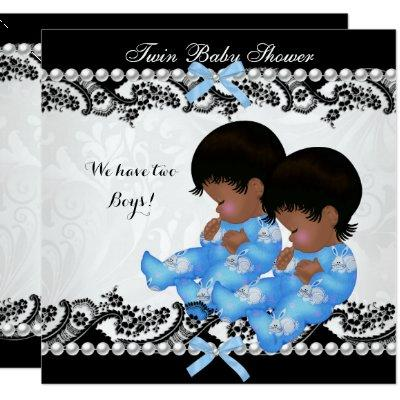 African American Twin Boys Baby Shower Blue Invitation