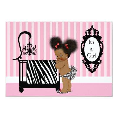 African American Zebra Print Baby Shower Invitation