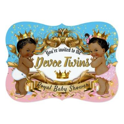African Prince|Princess Pink & Blue| Gold Sparkles Invitations