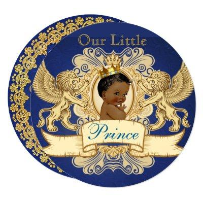 African Prince Royal Blue Baby Shower Invitations