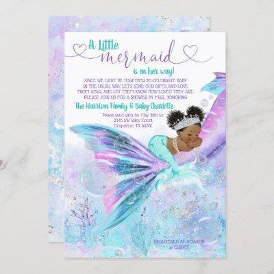 Afro Mermaid Mail Baby Shower Invitation