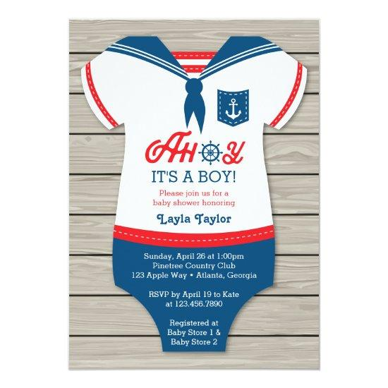 Ahoy Baby Shower Invitations, Sailor, Nautical Card