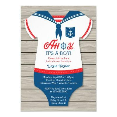 Ahoy Baby Shower Invitations, Sailor, Nautical Invitations