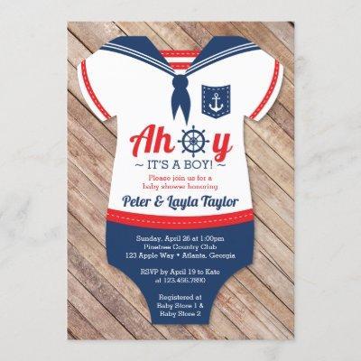 Ahoy Baby Shower Invitation, Sailor, Nautical Invitation