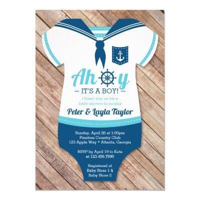 Ahoy Baby Shower Invitations, Sailor, Nautical Invitations