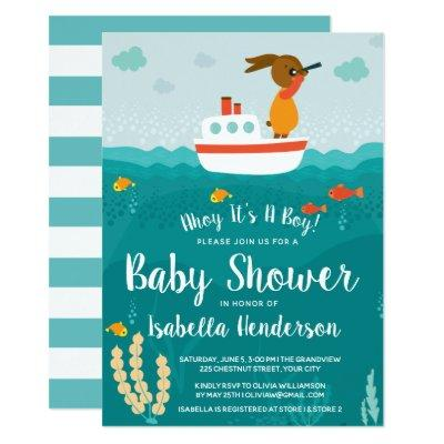 Ahoy Boy Nautical Boat Baby Shower Invitations