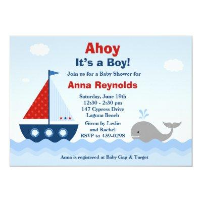 Ahoy Its a Boy Invitations