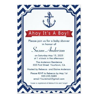 Ahoy! It's a Boy! Baby Shower Invitations
