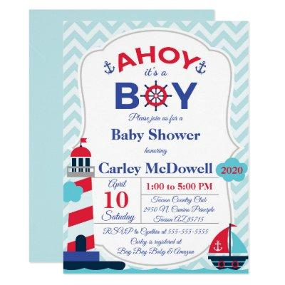 Ahoy It's A Boy baby Shower Invite