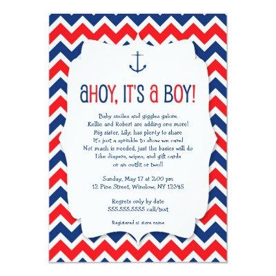 Ahoy it's a boy baby sprinkle invite / nautical