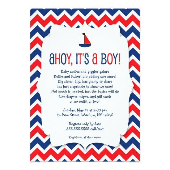 Ahoy its a boy baby sprinkle sailboat nautical invitations baby ahoy its a boy baby sprinkle sailboat nautical invitations filmwisefo