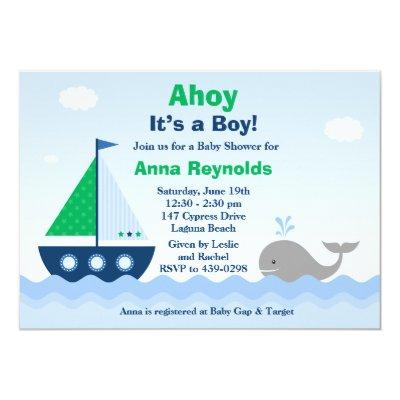 Ahoy Its a Boy Boat Invitations