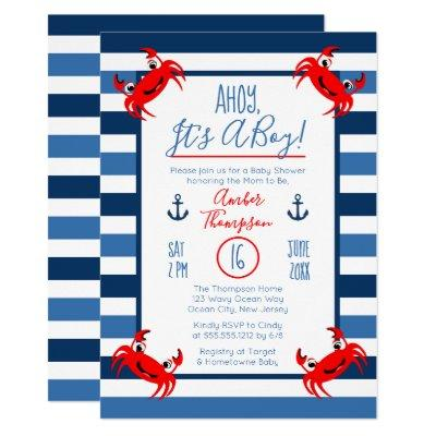 Ahoy It's A Boy Crab Nautical Theme Baby Shower Invitations