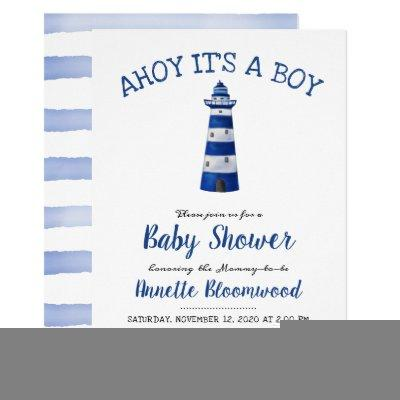 Ahoy Its A Boy Lighthouse | Nautical Baby Shower Invitation
