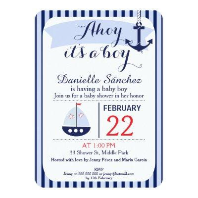 Ahoy It's A Boy Nautical Invitations