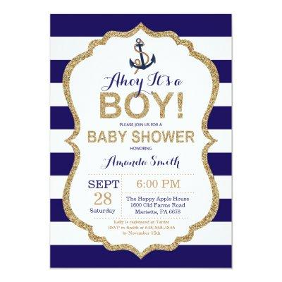 Ahoy it's a Boy! Nautical Baby Shower Invitations