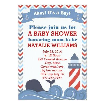 Ahoy Its a Boy Nautical Baby Shower Invitations
