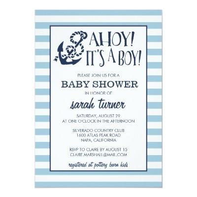 Ahoy, It's a Boy! Nautical Baby Shower Invitations