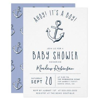 Ahoy! It's a Boy! Nautical Baby Shower Invitations