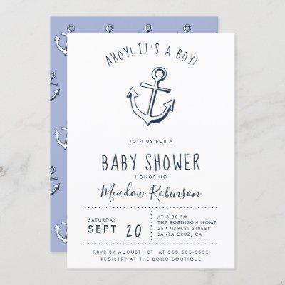 Ahoy! It's a Boy! Nautical Baby Shower Invitation