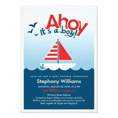 Ahoy it's a Boy Nautical Baby Shower Invite