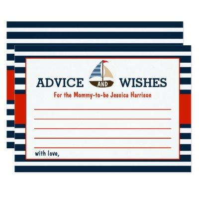 Ahoy It's A Boy! Nautical Boat Baby Shower Advice Card