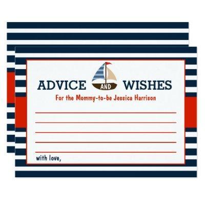 Ahoy It's A Boy! Nautical Boat Baby Shower Advice Invitations