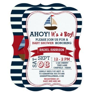 Ahoy It's A Boy! Nautical Boat Invites