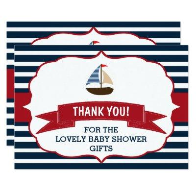 Ahoy It's A Boy! Nautical Boat Baby Shower Thanks Invitations