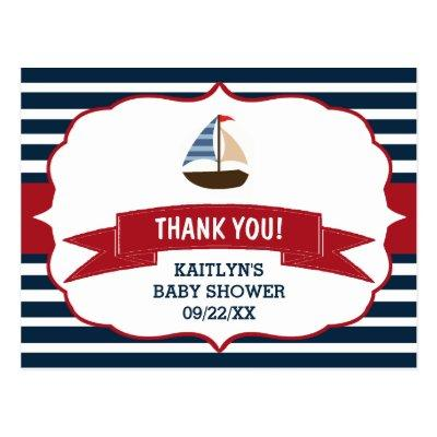 Ahoy It's A Boy! Nautical Boat Baby Thank You Postcard
