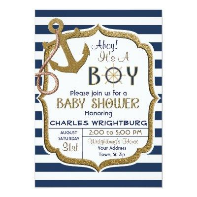 Ahoy It's A Boy Nautical Theme Baby Invitations