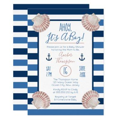 Ahoy It's A Boy Nautical Theme Baby Shower Invitations