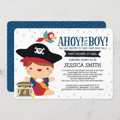 Ahoy it's a Boy Pirate Baby Shower by Mail Invitation