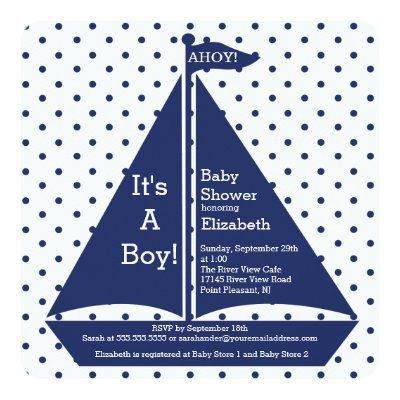 Ahoy! It's A Boy Sailboat Baby Shower Invitations