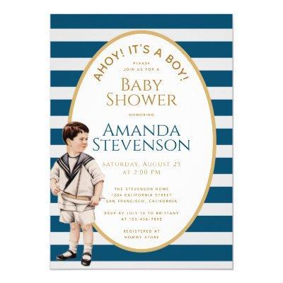 Ahoy It's a Boy Sailor Gold Nautical Baby Shower Invitation