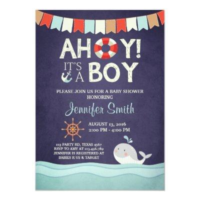Ahoy It's A Boy Shower Invitations Ocean Nautical