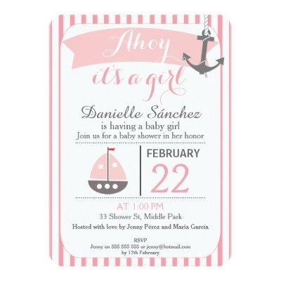 Ahoy It's A Girl Nautical Invitations