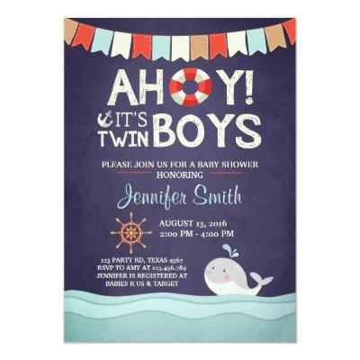 Ahoy It's Twin Boys Shower Invitate Ocean Nautical Invitations