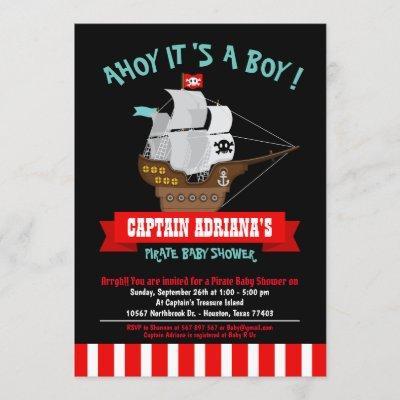 Ahoy Matey! Boat Pirate Boy Baby Shower Invitation
