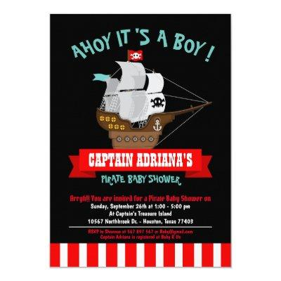 Ahoy Matey! Boat Pirate Boy Baby Shower Invitations