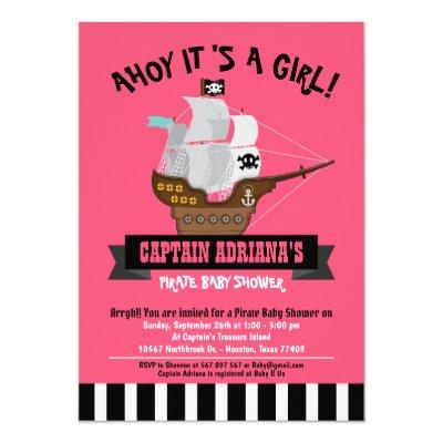 Ahoy Matey! Boat Pirate Girl Baby Shower Invitation