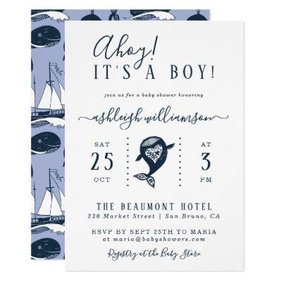 Ahoy! Nautical Whale Baby Boy Shower Invitations