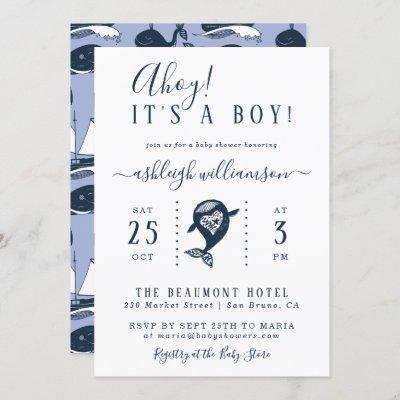 Ahoy! Nautical Whale Baby Boy Shower Invitation