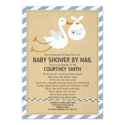Air Mail Stork Blue Boy Baby Shower By Mail Invitation