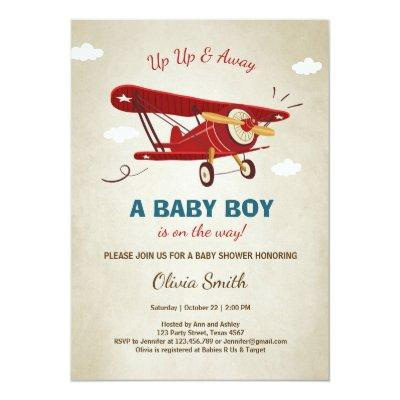 Airplane Baby Shower Invitations Travel Adventure