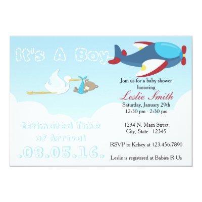 Airplane ETA Stork Baby Shower Invitation